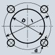 Ogni cerchio è caratterizzato dal numero di fori per il fissaggio e dall'interasse dei fori. In particolare, l'interasse è il diametro del cerchio che taglia il centro di ogni foro.